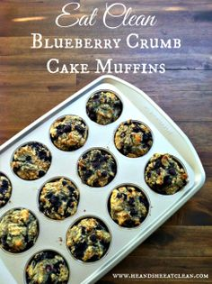 Need a dessert or even breakfast that everyone in your family will eat? How about a gluten-free eat clean muffin tin recipe? This Blueberry Crumb Cake Muffin recipe is phenomenal! You have to try it! | heandsheeatclean.com