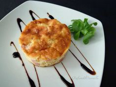 Baked omelette with ham and soft cheese.