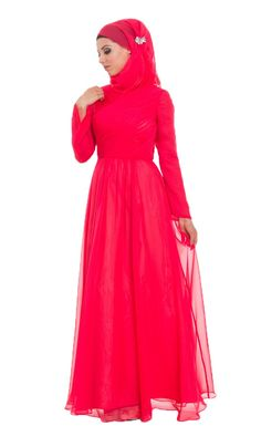 Red Silk Chiffon Islamic Formal Long Dress with Hijab and Jeweled Pin  |  at Artizara.com