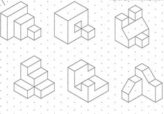 ejercicios de perspectiva a partir de trama isometrica - Buscar con Google Isometric Drawing Examples, Isometric Sketch, Isometric Drawing Exercises, Cad Drawing, Drawing Sketches, Orthographic Drawing, Interesting Drawings, Geometric Graphic, Drawing Skills