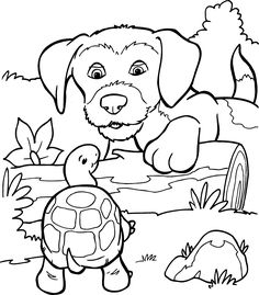 coloring dog and turtle from the gallery kids animals