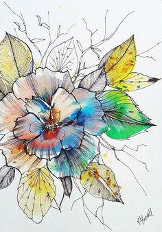 flower illustration Original Artwork Painting. Unique Watercolour by RebeccaYoxallArt. pen and wash