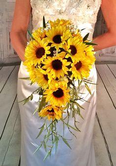 Sunflower Bouquet cascade sunflower wedding bouquet