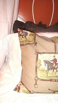 For all equiestrian fans: Hermes orange and Clarence House equestrian fabric    Tamara Stephenson Interior Design