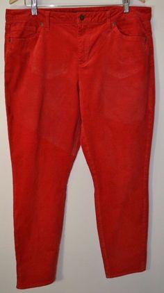 Tommy Hilfiger Women's Jeans Corduroy Red Skinny Pants Size 18 #TommyHilfiger #Corduroys
