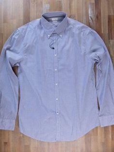 auth BRUNELLO CUCINELLI slim-fit button-down plaid cotton shirt - Size XXL - NWT