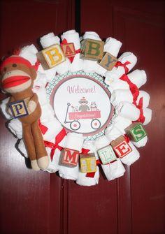 Sock Monkey Baby Shower Wreath #sockmonkey #babyshower