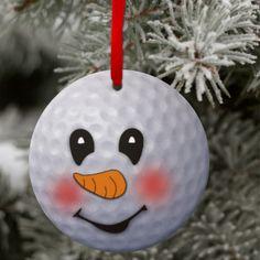 Golf Snowman Ornament/Custom Golf Ball Snowman Christmas Ornament/Gift Tag/Personalized Golf Christmas Gift/Golf Ornament Keepsake