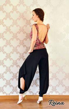Noir et autres couleurs des pantalons longs avec des fentes pour la danse de Tango argentin, Salsa,