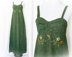 Vintage 70s Embroidered Maxi Dress Olive Green by PopFizzVintage, $79.00