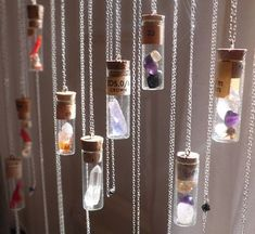 Crystals Talisman w authentic antique vial. Bespoke Custom (your choice of gems… Imagine this as a bead curtain! Bottle Charms, Bottle Necklace, Crystals And Gemstones, Stones And Crystals, Wiccan Crafts, Book Of Shadows, Magick, Witchcraft, Krystal