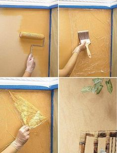 Wall paint decor idea, using plastic wrap. http://justimagine-ddoc.com/crafts/crafty-finds-for-your-inspiration-no-5/gallery/image/wall-decor/