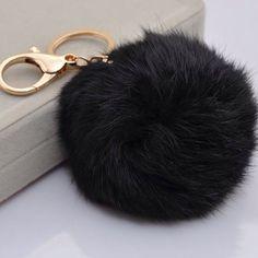 Black Genuine Rabbit Fur Puffball Keychain Genuine rabbit fur Boutique Bags Clutches & Wristlets