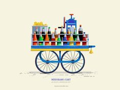 This series is dedicated to the quint essential pushcarts of India. The supers start on the streets that are ubiquitous on most indian cities yet very… Indian Illustration, House Illustration, Stock Design, Pop Art Wallpaper, Indian Folk Art, Truck Art, India Art, Indian Art Paintings, House Drawing