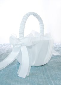 """Constructed of a smooth satin base, this classy flower girl basket is accented with layered organza and satin ribbon. Measures approx. 8"""" H x 5.5"""" W.  Available in White only."""
