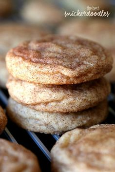 The BEST most PERFECT Snickerdoodle cookie recipe ever! Super soft and buttery, loaded with cinnamon and sugar. Plus, there's no chilling the dough necessary, so they can be made QUICK! # quick Baking The Perfect Snickerdoodle Cookie Recipe Cookies Receta, Yummy Cookies, Quick Cookies, Cinnamon Cookies, Xmas Cookies, Oatmeal Cookies, Easy Christmas Cookies, Bake Sale Cookies, Cinnamon Cake
