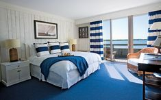 Love the nautical elements in this rooms at the Montauk Yacht Club via @LaurenNelsonNY