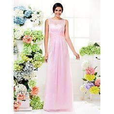 Floor-length Chiffon Bridesmaid Dress Sheath / Column Jewel Plus Size / Petite with Criss Cross – CAD $ 105.63