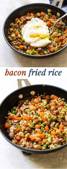 Bacon Fried Rice Easy bacon fried rice topped with a runny egg – great for breakfast, lunch or dinner! via Girl Gone Gourmet Side Dish Recipes, Pork Recipes, Asian Recipes, Healthy Recipes, Ethnic Recipes, Recipies, Oriental Recipes, Rice Recipes, Dinner Recipes