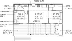Modern Style House Plan - 1 Beds 1 Baths 640 Sq/Ft Plan #449-14 Main Floor Plan - Houseplans.com