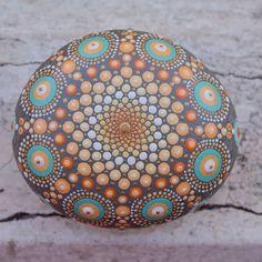 Piedra de mar Mandala pintado a mano grandes