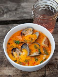 Recipe:  Fresh Clam Chowder   Recipes from The Kitchn--I'd still probably make this with steamers and remove the shells but the thinner broth and red hue from the chili paste look wonderful