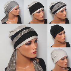 3-teiliges SOMMESET Beanie + 2 Bänder beige schwarz tolle Kombi  ideal bei Chemotherapie Chemomütze Kopfbedeckung Yoga Alopezie Haarausfall von KopfundKragen auf Etsy