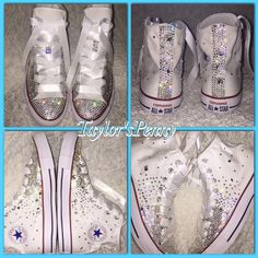 New Diy Wedding Shoes Bling Fun Ideas Bling Wedding Shoes, Wedding Converse, Bling Shoes, Bridal Shoes, Bling Bling, Bedazzled Converse, Rhinestone Converse, Bride Sneakers, Diy Gift For Bff