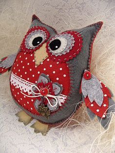 Wool Felt Fabric, Fabric Toys, Fabric Yarn, Owl Sewing, Sewing Dolls, Owl Patterns, Easy Sewing Patterns, Baby Sewing Projects, Sewing Crafts
