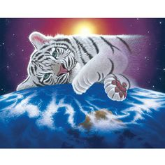 DIY 3D Diamond Embroidery Paintings Cute White Tiger Tiger Animals Needlework Picture of Rhinestone Mosaic Cross Stitch Home art #Affiliate