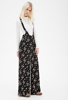 Clustered Rose-Print Pants with single-button braces
