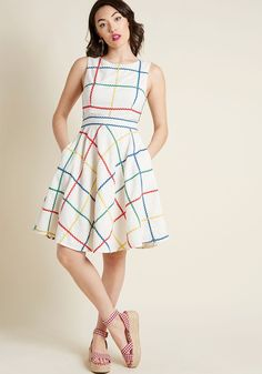Perky Personality Fit and Flare Dress | ModCloth #fitandflare #ricrac #primarycolors #spring #modcloth #vintageinspired