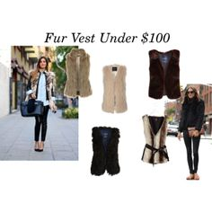 """Fur Vests Under $100"" by Big Curls and Pearls Blog"