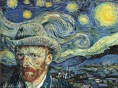 "Van Gogh: Self-portrait + ""Starry Night"" Vincent Van Gogh, Van Gogh Arte, Van Gogh Pinturas, Van Gogh Quotes, Graffiti, Van Gogh Paintings, Art Van, Nerd, Illustrations"