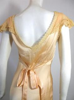 Silky Peach Lace Trimmed Bias Cut Nightgown circa 1930s