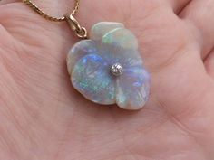 Opal pansy flower pendant