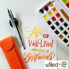 Life is well-lived with a pool of bestfriends Paper: Canson Paint: Van Gogh watercolors Brush: Silver Brush Black Velvet round no 2 & waterbrush Calligraphy Words, Learn Calligraphy, Beautiful Calligraphy, Script Lettering, Typography Letters, Modern Calligraphy, Lettering Design, Calligraphy Tutorial, Penmanship