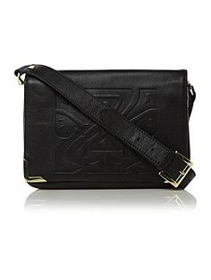 Biba Gretal embossed leather logo shoulder bag