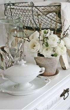 White, ironstone, silver, glass, pottery roses, wire basket