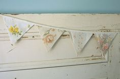 Vintage Floral Bunting  Parties or Decor by EvaandDell on Etsy, $30.00