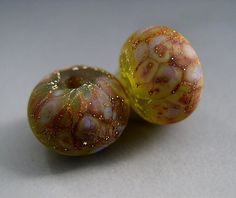 Naos Glass - Gooseberry Harvest - Made To Order Handmade Lampwork Beads SRA Olive Green Lavender Silver Pair. $10.00, via Etsy.