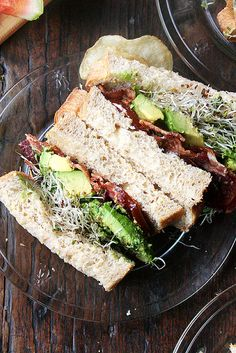 bacon, avocado and sprouts sandwich on Walter Sands' super soft sandwich bread
