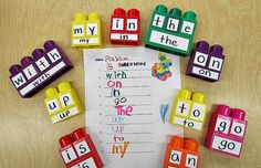 Kindergarten: Holding Hands and Sticking Together: Five for Friday Anyway! Building Sight Words with Mega Blocks. This would work with any words, of course! Really want great hints on arts and crafts? Kindergarten Centers, Kindergarten Reading, Kindergarten Classroom, Teaching Reading, Learning Activities, Kids Learning, Guided Reading, Classroom Decor, Kindergarten Sight Words