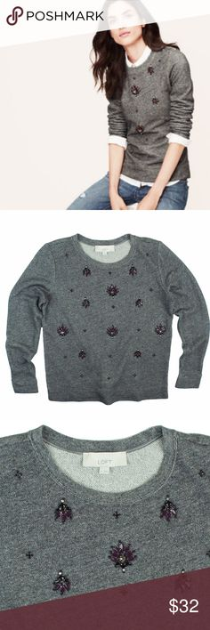 "ANN TAYLOR LOFT Gray Jeweled Sweat Shirt Top Excellent condition! This gray sweat shirt from Ann Taylor Loft features purple toned jeweled design in front and a crew neckline. Made of 100% cotton. Measures: bust: 40"", total length: 25"", sleeves: 25"" LOFT Tops Sweatshirts & Hoodies"