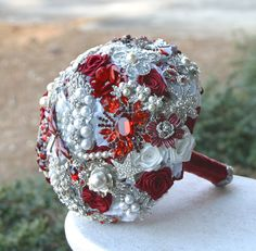 Ruby Red Brooch Wedding Bridal Bouquet. Deposit on made to order Heirloom bouquet. Broach bridal bouquet.. $75.00, via Etsy.