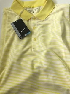 44b705d0 Nike Victory Mini Stripe Golf Polo Yellow White 725520 765 Men's Size XL  NEW #Nike