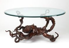 Glass / Transparant Sculpture by sculptor artist Kirk McGuire titled: 'Coffee Table Cephalopod (Big bronze life size Octopus sculpture/statue)' in Bronze Glass Suppliers, Large Table, Home And Deco, Decoration Table, Glass Table, Metal Art, Design Inspiration, Design Ideas, Home Decor