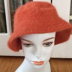BIJOUX TERNER VINTAGE ANGORA HAT BIJOUX TURNER ORANGE VINTAGE ANGORA BLEND HAT , shows wear does not affect beauty of hat Bijoux terner Accessories Hats