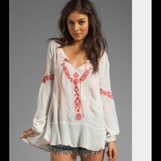 Free People embroidered peasant top Beautifully embroidered Free People peasant top/ tunic. Light and airy, perfect as a cover up, loose top, or layering piece. Free People Tops Tunics