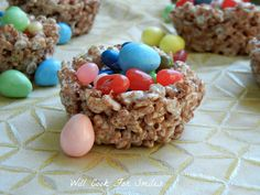 Chocolate Rice Crispy Nests ~ use chocolate rice bubbles, such as coco pops, and add melted marshmallow!